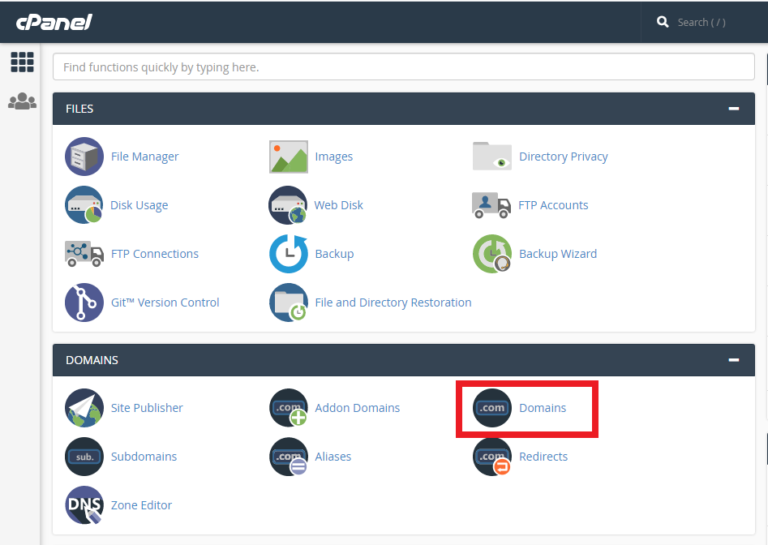 cPanel Domains Section