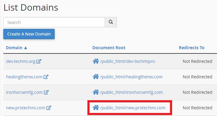 cPanel Domains List