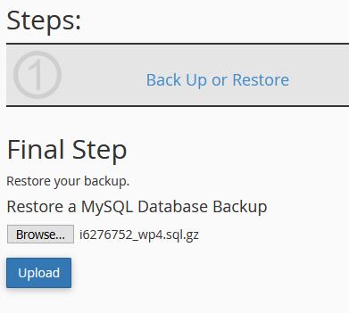 MySQL restore on cPanel